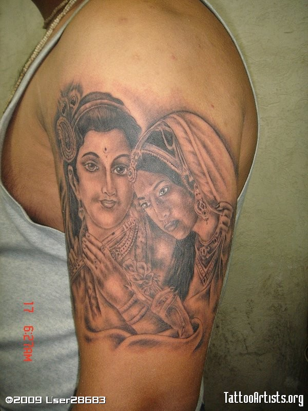 Elegant Radha Krishna Tattoo On Biceps For Boys
