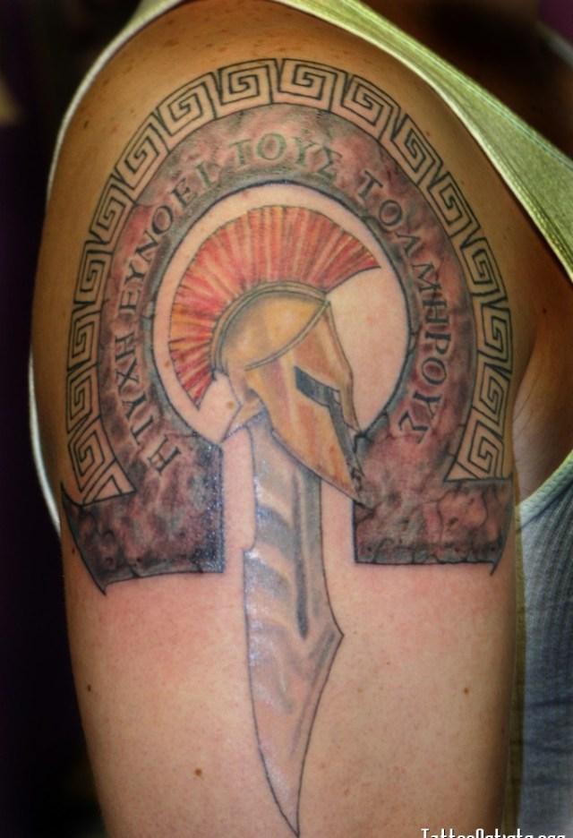 Elegant Spartan Armor Sword Helmet Tattoos On Biceps For Boys
