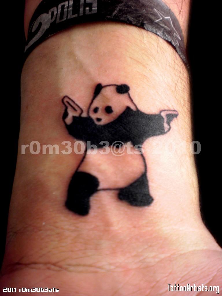 Extremely Gangsta Panda Tattoo On Wrist For Boys