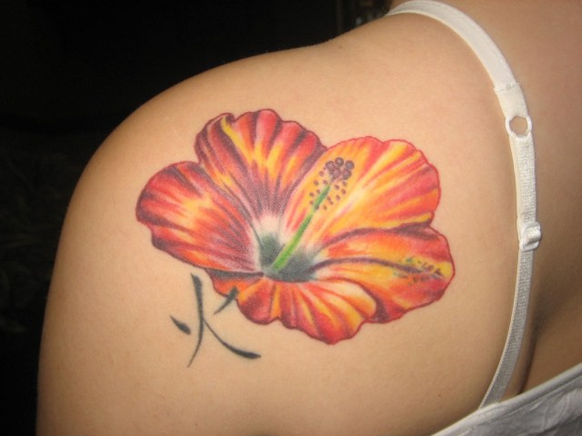 Extremely Hibiscus Tattoo On Back For Girls