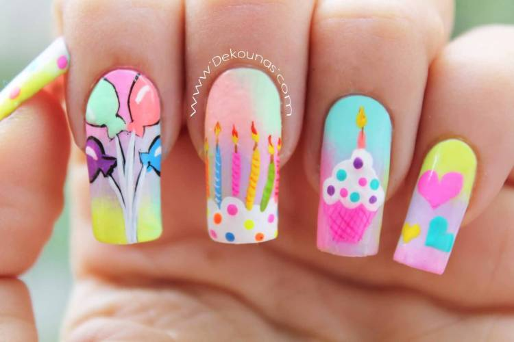 Eye Catching Birthday Candles With Balloons Birthday Nail Art