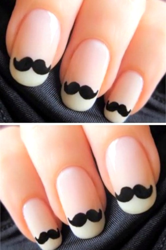 Eye Catching Black Nail Art Design With Mustache Design
