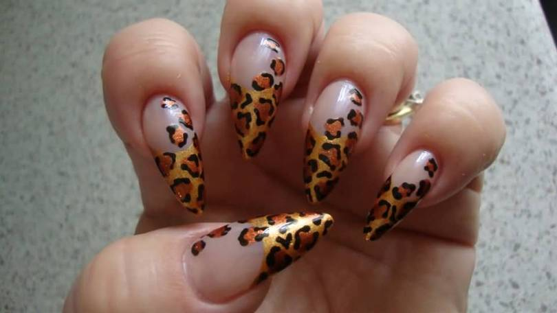 Eye Catching Black Nail Art On Tip With Leopard Print