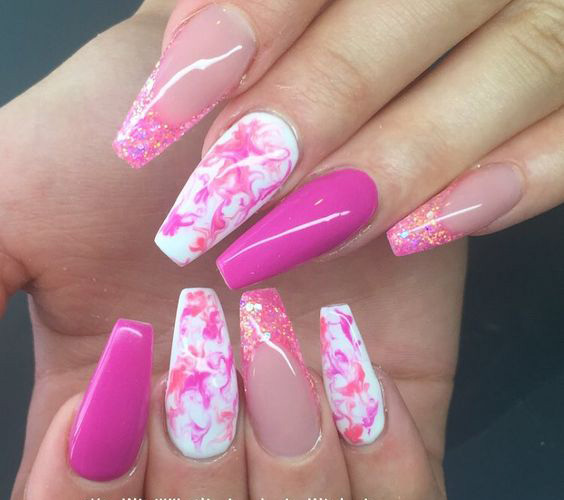 Eye Catching Pink And White Mix Pink Acrylic Nail Design