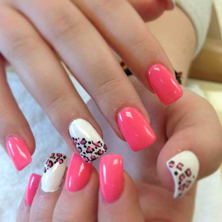 Fabulous Baby Pink With Tiger Print Pink Acrylic Nail Art Design