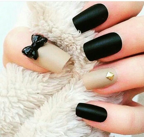 Fabulous Black And Beige Nail Art With 3D Bow In Black Color Design