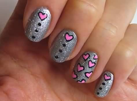 Fabulous Black And Pink Nails With Cute Pink Heart