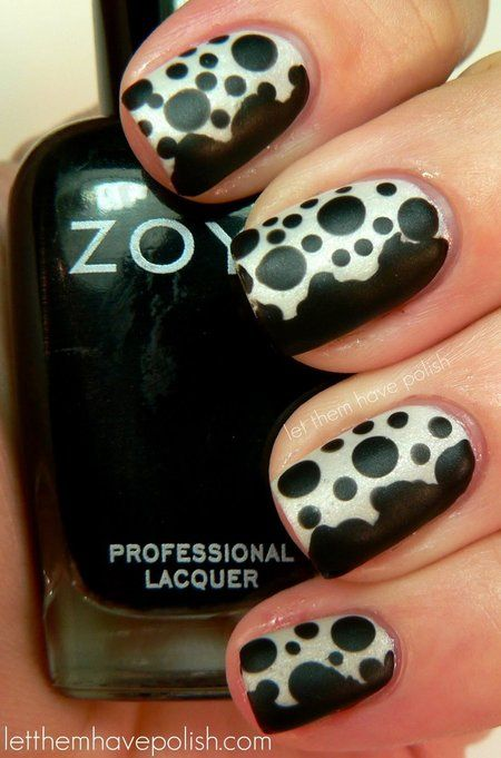 Fabulous Black And White Polka Dot Nail Art With Most Of The Side Black