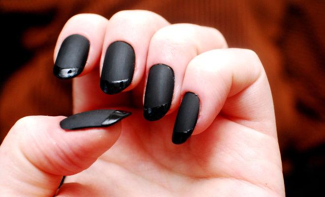 Fabulous Black Matte Nails With Black Tip