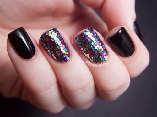 Fabulous Black Nail Art Design With Colorful Sparkling Nail Paint