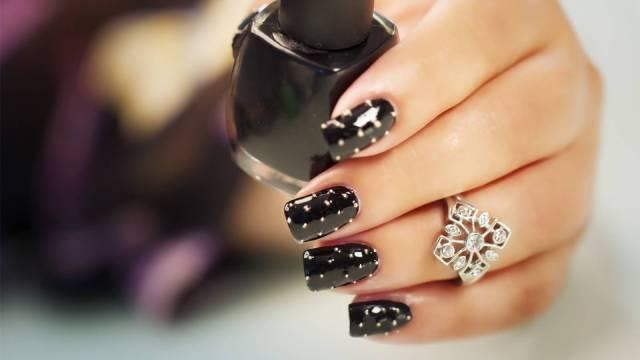 Fabulous Black Nail Art Design With Polka Dot