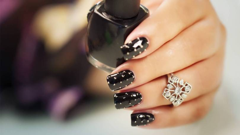 Fabulous Black Nail Art Design With Polka Dot