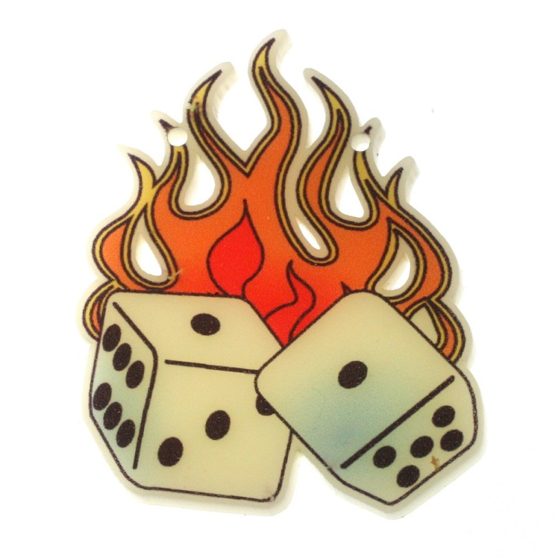 Fabulous Burning Dice Tattoo Sample For Girls