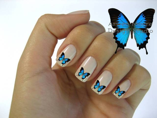 Fabulous Butterfly Nail With Baby Pink Nail