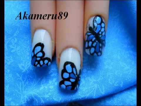Fabulous Butterfly Nail With White Color Design