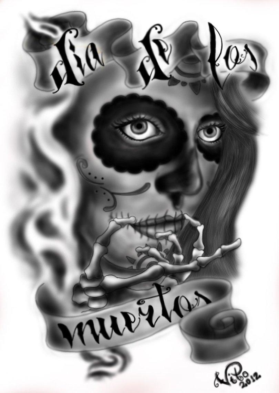 Fabulous Dia De Los Muertos Tattoo Sample For Boys