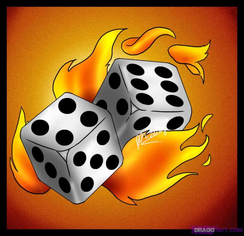 Fabulous Dice Fire n Flames Tattoo Graphic For Girls