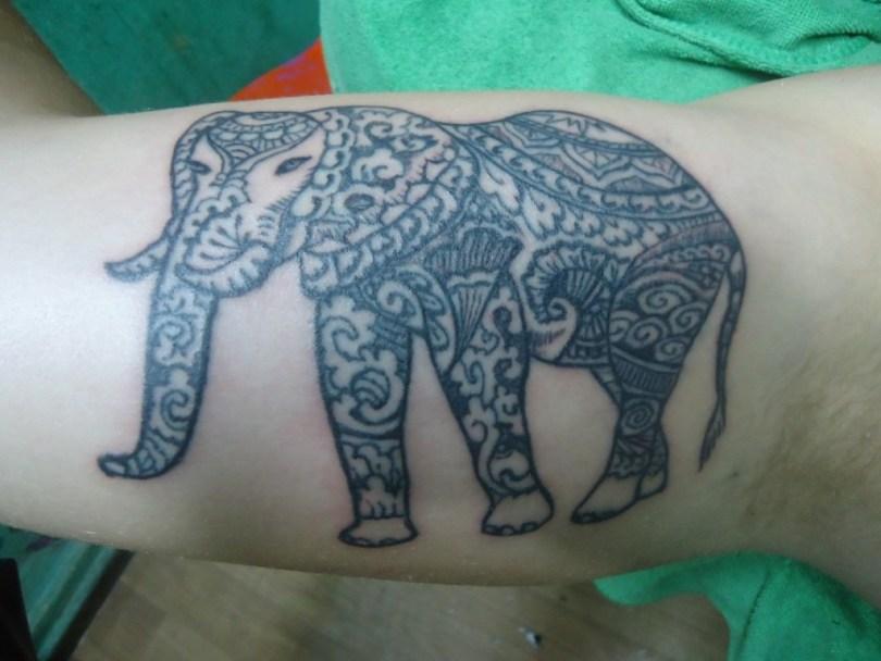 Fabulous Elephant Henna Tattoo On Muscles For Boys