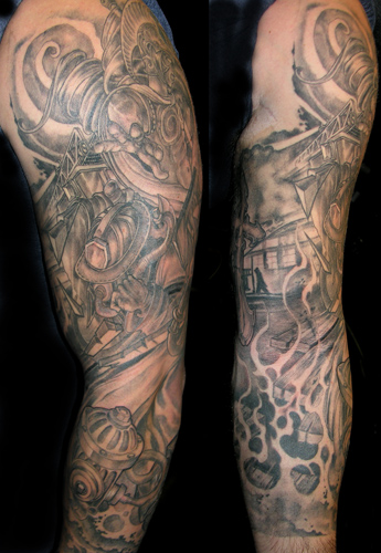 Fabulous Full Sleeve Firefighter Tattoo Design For Boys