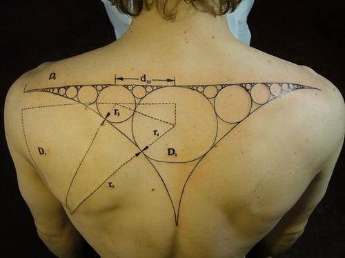 Fabulous Geek Science Tattoo On Upper Back For Boys