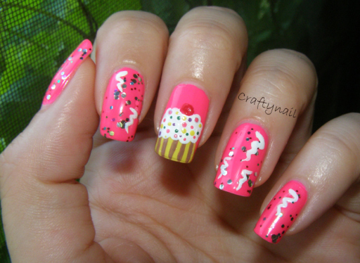 Fabulous Pink Nail Paint With ice Cream Design Birthday Nail Art