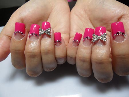 Fabulous Pink Tips Nail Paint 3D Nail Art