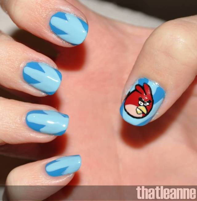 Fabulous Sky Blue Color With Angry Bird Nail Art Design
