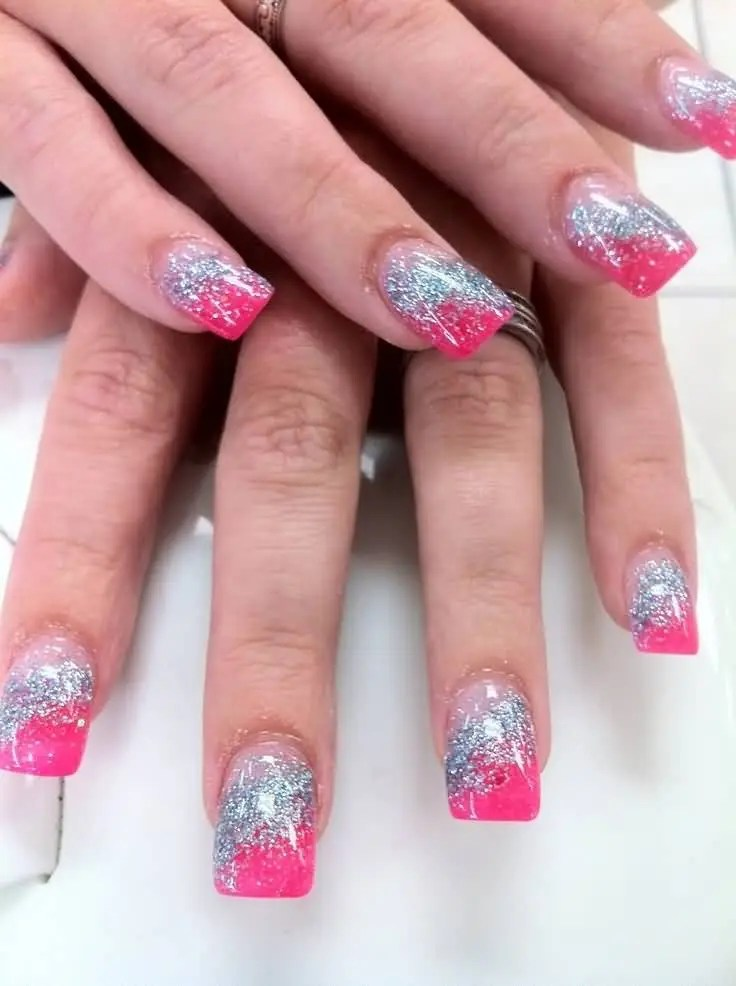 Fabulous Sparkling Silver Color Pink Acrylic Nail Art Design