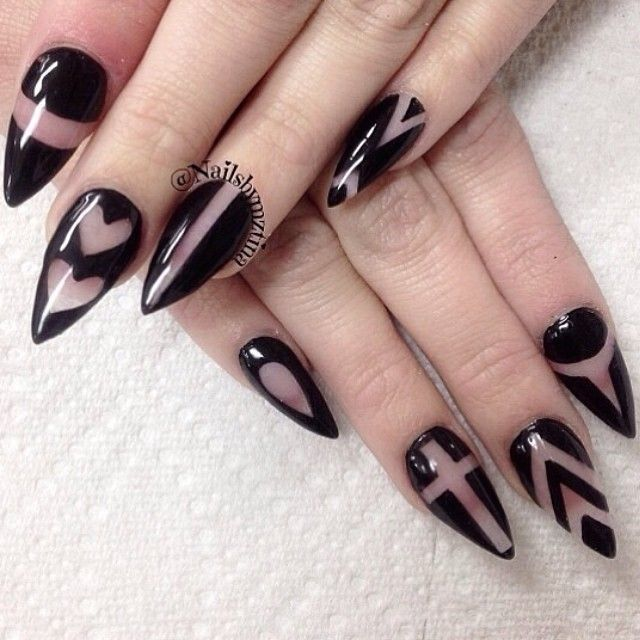 Fabulous Stiletto Nails With Naked Nails Design
