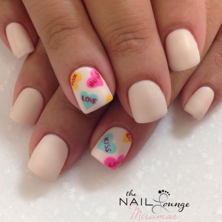 Fabulous White And Colorful Heart Accent Nail Design