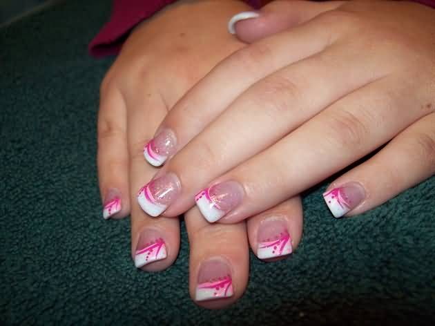 Fabulous White Nail Paint Tip Pink Acrylic Nail Art Design