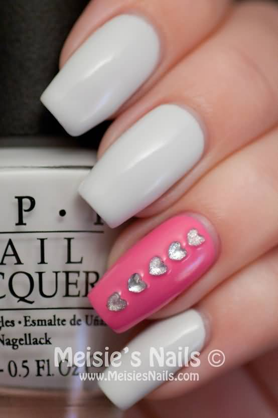 Fabulous White Paint With Pink Accent Nail Art