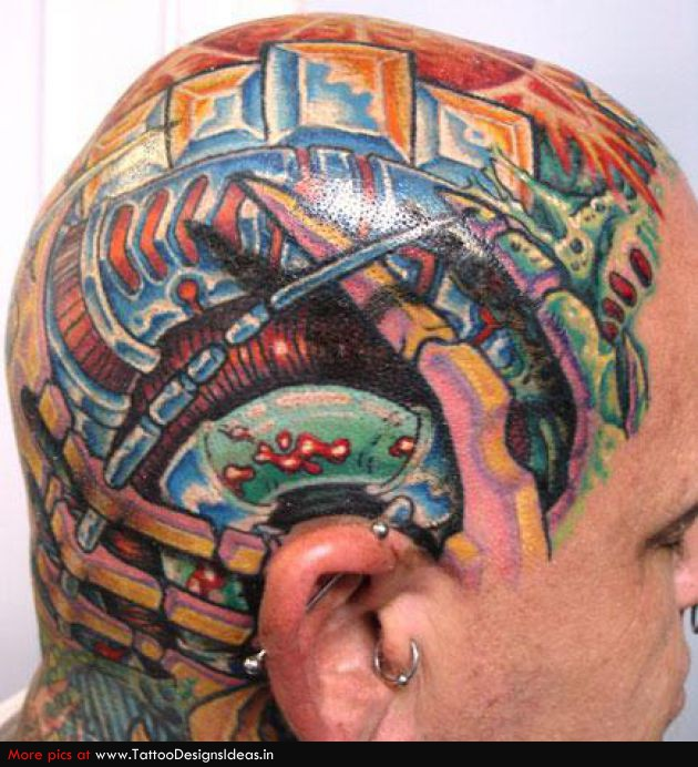 Famous Biotech Head Tattoo Design For Boys