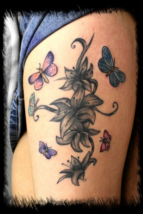 Famous Lily n Butterfly Tattoo Design For Girls