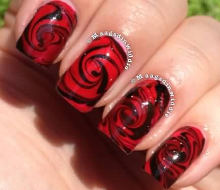Famous Red And Black Nails With Rose Design