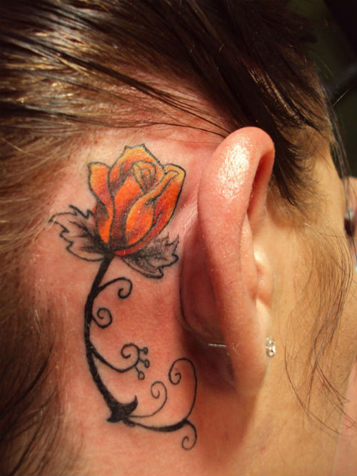 Famous Rose Tattoo Behind Ear For Girls