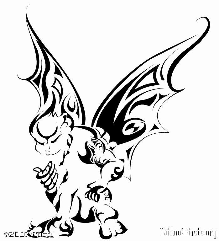 Famous Tribal Gargoyle Tattoo Stencil For Boys