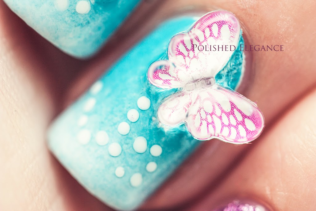 Fantastic 3D Butterflies Nail Art WIth Light Blue Color & Pink Color Butterfly