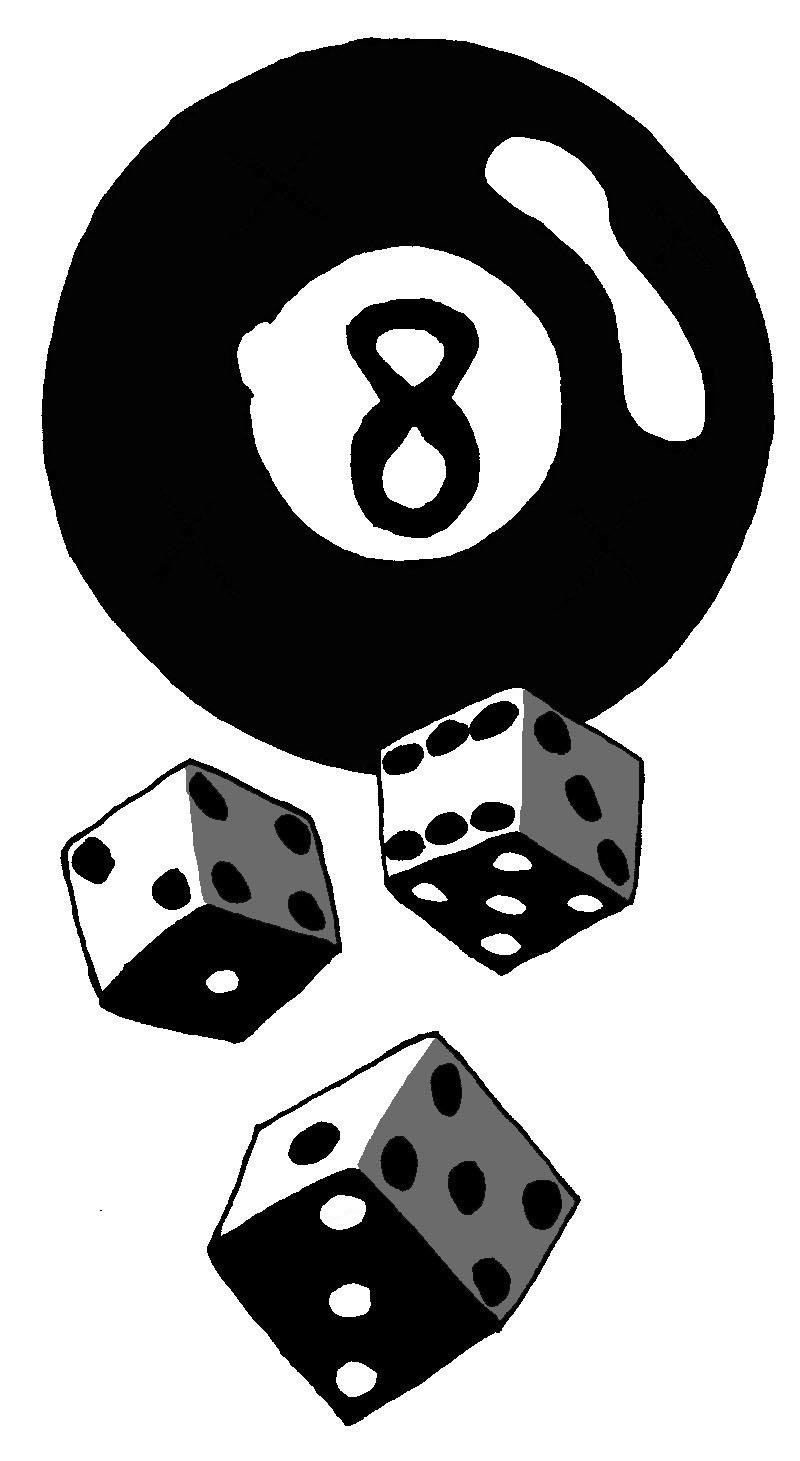 Fantastic 8 Ball Gambling Dices Tattoo Design For Girls