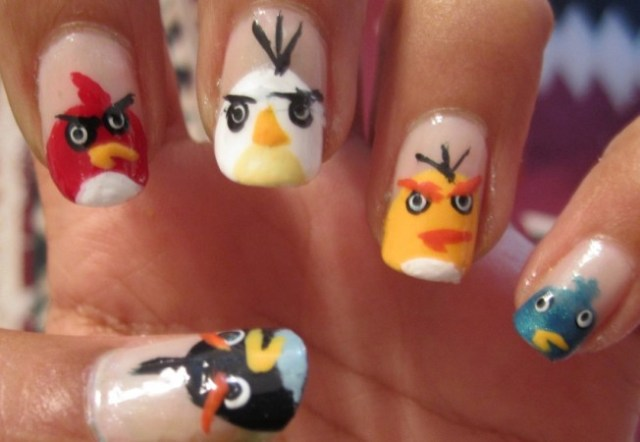 Fantastic Angry Bird Design Angry Bird Nail Art Design