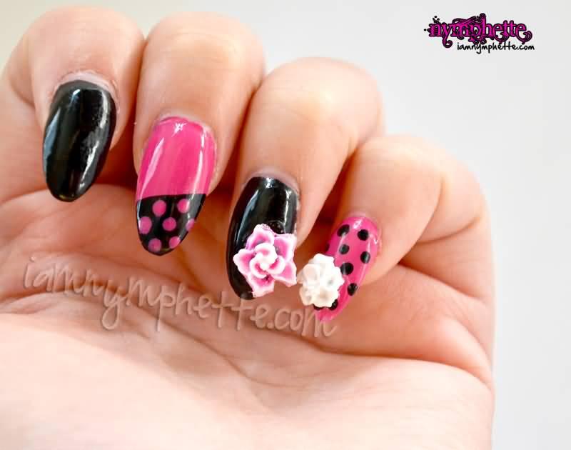 Fantastic Black And Pink Nail Art 3D Nail Art