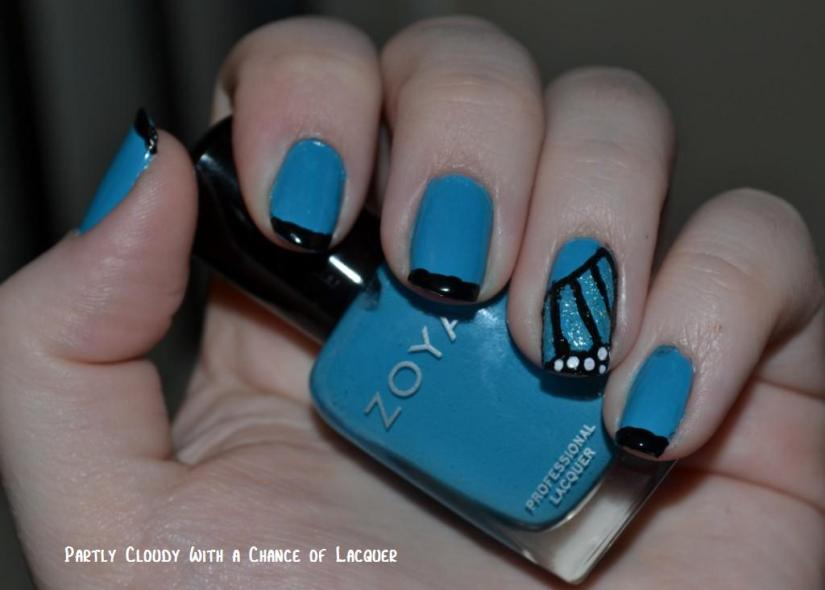 Fantastic Butterfly Nail With Black Tip