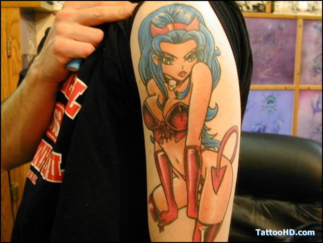 Fantastic Devil Girl Tattoo On Shoulder For Boys