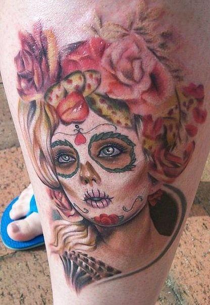 Fantastic Dia De Los Muertos Girl Tattoo On Left Leg For Girls