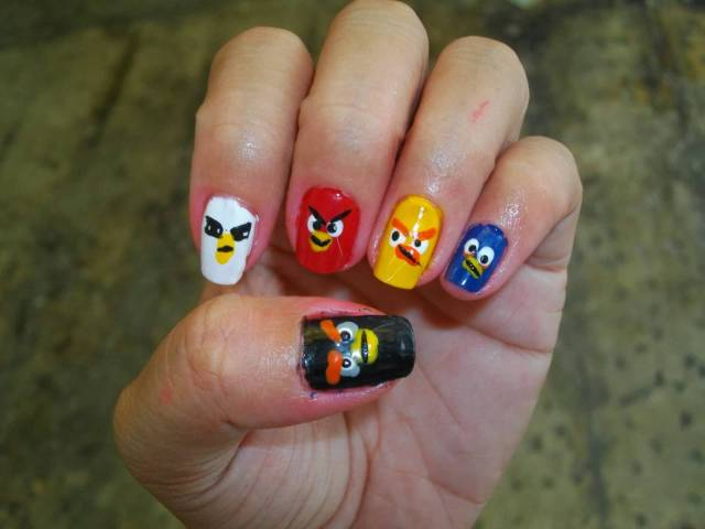 Fantastic Different Birds Angry Bird Nail Art Design