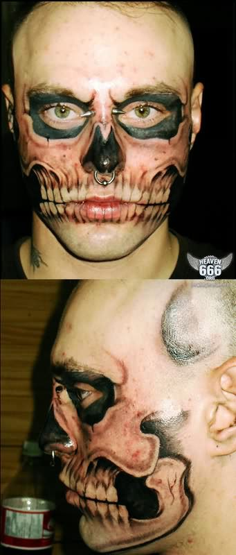 Fantastic Extreme Face Teeth Tattoo For Boys