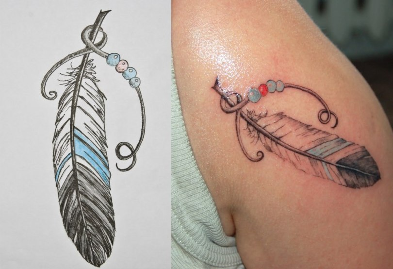 Fantastic Feather Tattoo Design For Boys