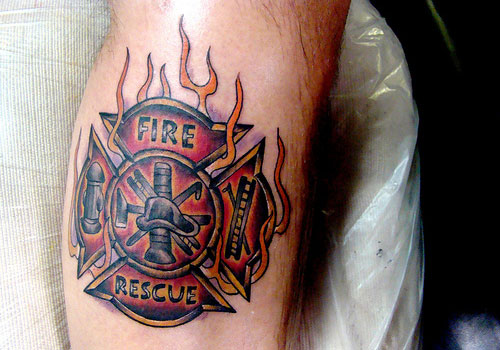 Fantastic Fire Rescue Tattoo Design For Boys