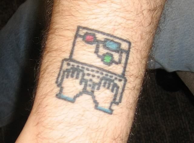 Fantastic Geek Network Tattoo Design For Boys