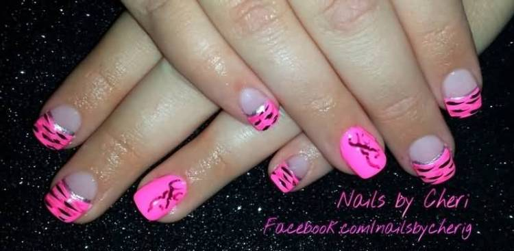 Fantastic Pink Tip With Black Color Pink Acrylic Nail Art Design